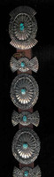 Navajo Box & Bow Oval Turquoise Concho Belt_15 Bruce Morgan SOLD