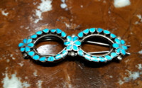 BARRETTE ZUNI SILVER SLEEPING BEAUTY TURQUOISE  Virgil Dishta