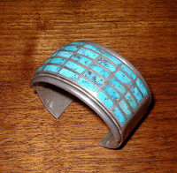 BRACELETS ZUNI SILVER PAWN TURQUOISE MULTI-STONE INLAY SOLD