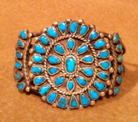 BRACELETS ZUNI SILVER PAWN TURQUOISE CLUSTER BZSPTC46 SOLD