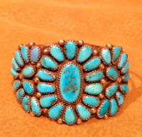 BRACELETS ZUNI SILVER PAWN TURQUOISE CLUSTER BZSPTC39 3705 SOLD