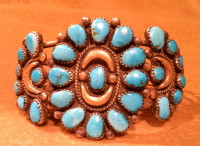 BRACELETS ZUNI SILVER PAWN TURQUOISE CLUSTER BZSPTC38 SOLD