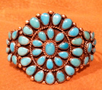 BRACELETS ZUNI SILVER PAWN TURQUOISE CLUSTER BZSPTC33 SOLD