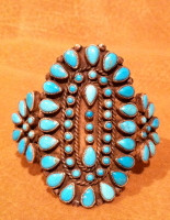 BRACELETS ZUNI SILVER PAWN TURQUOISE CLUSTER SOLD