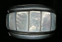 BRACELETS ZUNI SILVER MOTHER Of PEARL MULTI-INLAY WIDE CUFF