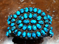 BRACELET ZUNI SILVER 52 STONE PERSIAN TURQUOISE PAWN SOLD