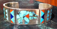 BRACELETS ZUNI MULTI-INLAY TURQUOISE BEAR WITH CORAL HEARTLINE Ruddell & Nancy Laconsello SOLD