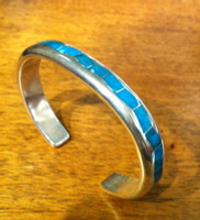 BRACELETS ZUNI MULTI-INLAY BLUE GEM TURQUOISE Larry Loretto SOLD