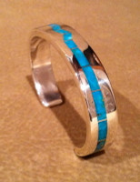 BRACELETS ZUNI MULTI-INLAY BLUE GEM TURQUOISE Larry Loretto BZMIBGTLL9