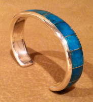BRACELETS ZUNI CONTEMPORARY INLAY BLUE GEM TURQUOISE Larry Loretto SOLD