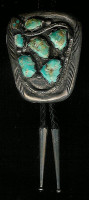 BOLO TIES ZUNI SILVER SNAKE 6 STONE TURQUOISE Susie Calavaza?