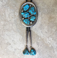 BOLO TIES NAVAJO MORENCI TURQUOISE NUGGET EMY Earl Morris