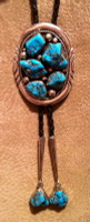 BOLO TIES ZUNI NAVAJO STYLE MORENCI TURQUOISE NUGGET Earl Morris EMY