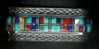 BRACELETS ZUNI MULTI-COLOR RAISED INLAY DESIGN Lloyd Tsalabutie