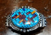 BRACELETS SANTO DOMINGO NAVAJO MULTI-COLOR INLAY OVAL Angie Reano Jeanette Dale SOLD