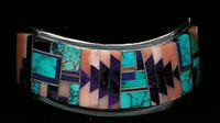 BRACELETS NAVAJO SILVER MULTI-INLAY RARE SUGILITE ANGEL SKIN CORAL TURQUOISE Nelson Begay