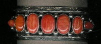 BRACELETS*NAVAJO*SILVER*SPONDELOUS SPINEY OYSTER SHELL DARK ORANGE*Jeanette Dale