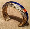 BRACELETS HOPI 14KT GOLD LAPIS INLAY Don Supplee