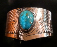 BRACELETS NAVAJO SLVER TURQUOISE CUFF Jeannette Dale SOLD