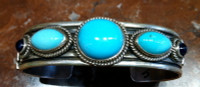 BRACELETS NAVAJO STERLING SILVER SLEEPING BEAUTY TURQUOISE IOLITE Andy Cadman Kaizen SOLD
