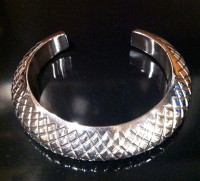BRACELET NAVAJO SILVER STAMPED DOMED Orville Tsinnie SOLD