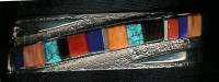 BRACELETS NAVAJO SILVER MULTI-COLOR INLAY Jimmy Wakins