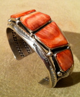 BRACELETS NAVAJO SILVER DARK ORANGE SPONDELOUS SPINY OYSTER SHELL Jeanette Dale SOLD