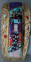 BRACELETS NAVAJO 14KT GOLD MULTI-COLORED MOSAIC MICROCHIP INLAY YEI Carl & Irene Clark SOLD