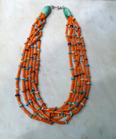 BRUCE ECKHARDT HEISHI BEAD NECKLACE ORANGE CORAL 6 STRAND MULTI-STONE SOLD