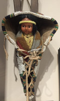 Native American Indian Sioux Style Beaded Toy Cradleboard & Old Doll