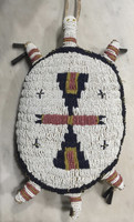 Native American Sioux Style Beaded White Turtle Amulet