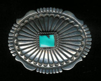 BELT BUCKLE NAVAJO SILVER TURQUOISE AM SOLD