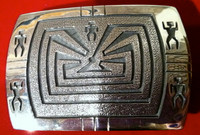 BELT BUCKLE HOPI SILVER MAN IN THE MAZE Ben Mansfield SOLD