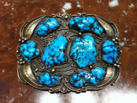 BELT BUCKLE 14K SOLID GOLD & STERLING SILVER TURQUOISE NUGGET RECTANGULAR  Herbert J Brown