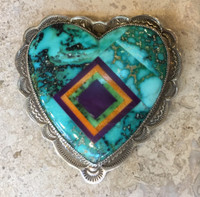 Benny & Valorie Aldrich Jewelry Turquoise Heart Pin