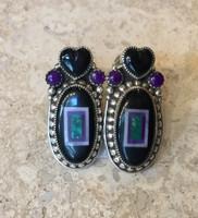 Benny & Valorie Aldrich Jewelry Onyx Jet Heart Earrings AJE4