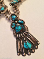 SQUASH BLOSSOM NECKLACE BISBEE TURQUOISE NAVAJO HANDMADE ONE OF A KIND SOLD
