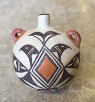 Pottery Acoma Miniature Water Canteen Shyatesa White Dove 4/9/84