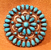Zuni Turquoise Cluster Pawn Pin Pendant