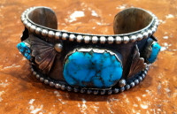 BRACELET NAVAJO SILVER 3 STONE OVAL TURQUOISE PAWN SOLD