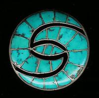 Zuni Hummingbird Design Turquoise Inlay 1930's Pawn Pin SOLD
