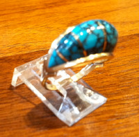 RINGS NAVAJO DOMED INLAY TURQUOISE Tim Bedah