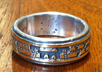 RING HOPI 14KT GOLD STERLING SILVER STORYTELLER RING BRUCE MORGAN SOLD