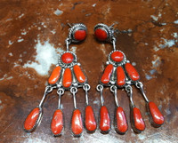 EARRINGS NAVAJO CORAL DANGLE Robert & Bernice Leekya