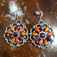 EARRINGS ZUNI PURPLE & ORANGE SPINY OYSTER SHELL ROUND FRENCH WIRE PW SOLD