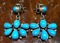 EARRINGS SLEEPING BEAUTY TURQUOISE CLUSTER STERLING DANGLE SOLD