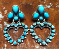 EARRINGS SLEEPING BEAUTY TURQUOISE CLUSTER HEART Don Lucus Leo Feeney SOLD