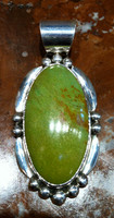 PENDANT NAVAJO GREEN MANASSA TURQUOISE STERLING SILVER RF SOLD