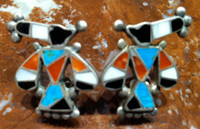 EARRINGS ZUNI MULTI COLOR INLAY RAINBIRD SCREWBACK PAWN