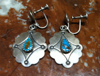 NAVAJO EARRINGS 1950's PAWN TURQUOISE STERLING SILVER SCREWBACK